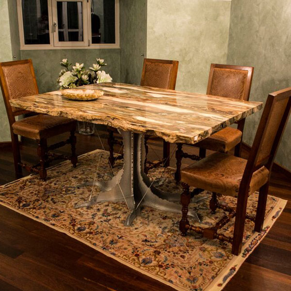 Large rectangular fossil wood dining table