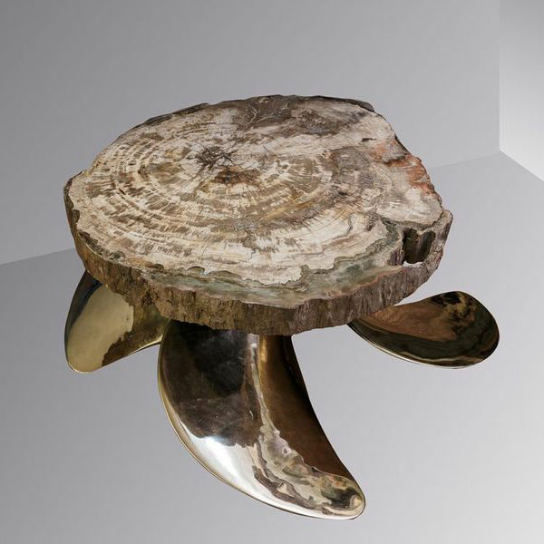Petrified table on a bronze maritime propeller