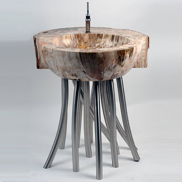 Fossil wood wash basin