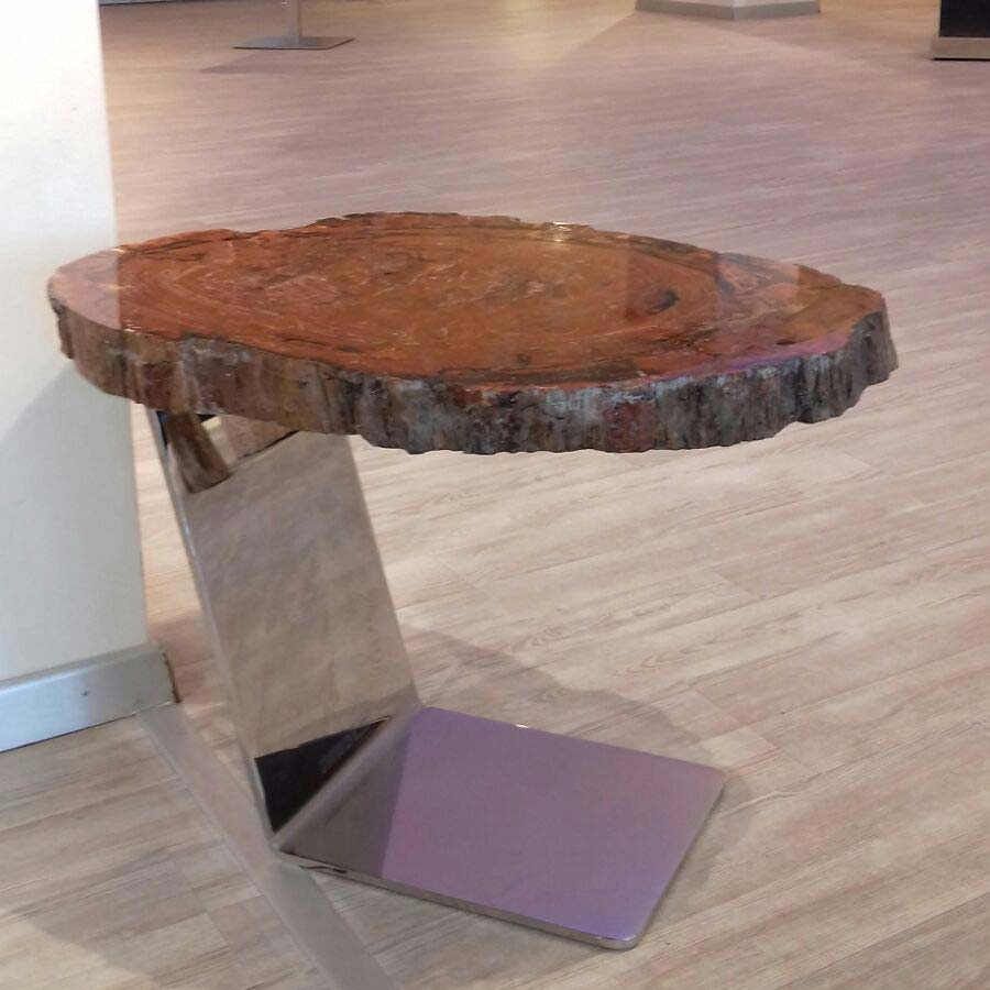 Red fossil wood table