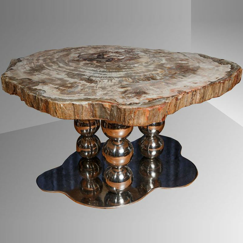 Round petrified wood table