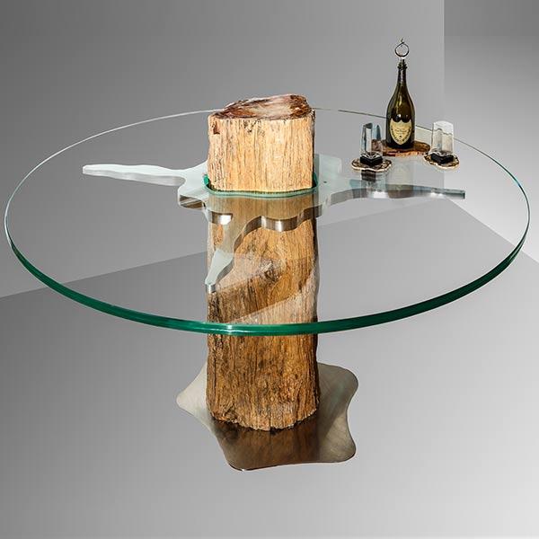 Tavolino rotondo tronco pietrificato opere for Tronco albero arredamento