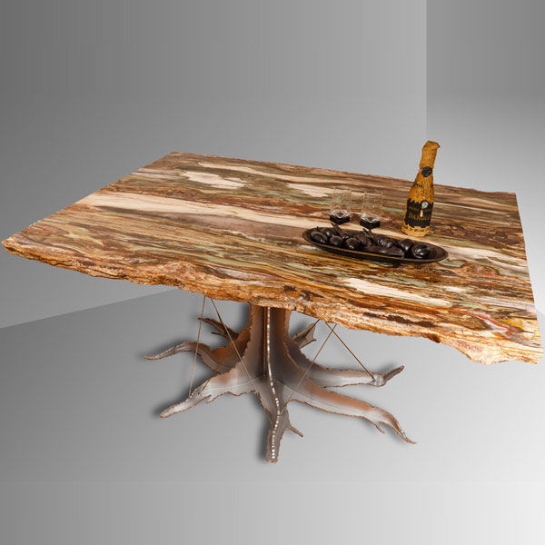 Rectangular fossil wood table