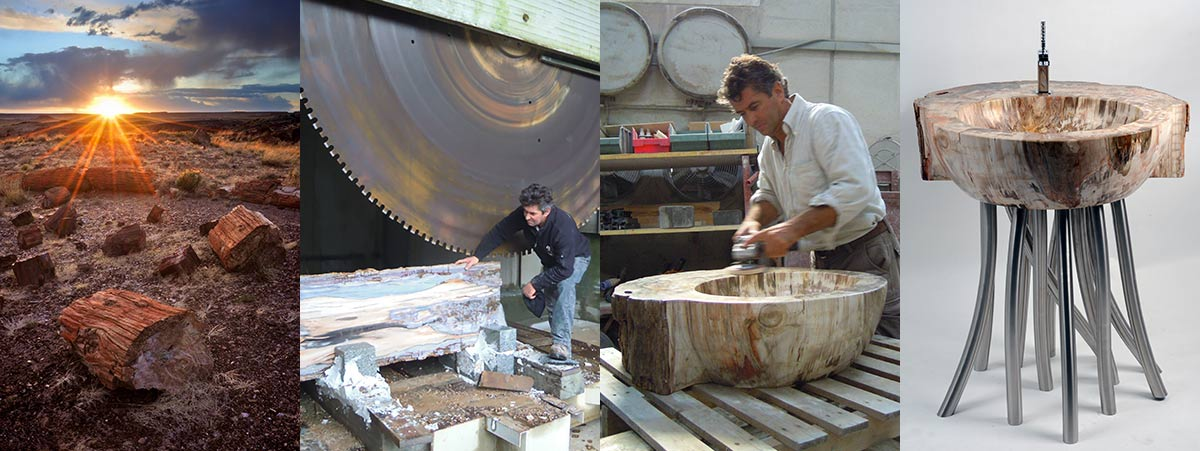 The production of furniture from petrified wood